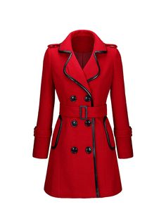 Designed Lapel Double Breasted Leather-Trimmed Woolen Coat FashionMia Price: $32.95