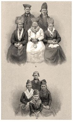 Lapp (Sami) People in Sorsele. The female figures on the sides (top) are wearing ceremonial hats.    From Om Lappland och lapparne (About Lapland and the Lapps), by Gustaf von Düben, Stockholm, 1873.    (Source: archive.org)
