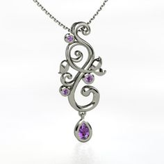 Pear Amethyst 14K White Gold Necklace with Amethyst - perspective