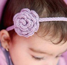 Crocheted baby headband.