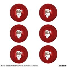 Black Santa Claus Cartoon Pack Of Small Button Covers
