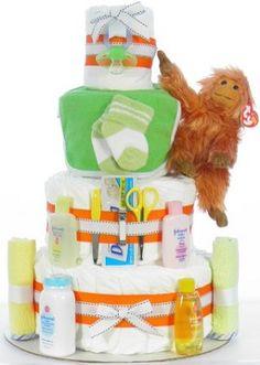 Orangutan Diaper Cake Diaper Cakes, Orangutan, Children, Young Children, Boys, Kids, Diaper Bouquet, Child, Kids Part