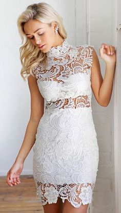 Sheer Crochet Lace Dress- Fully Lined at Skirt