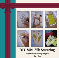 Create gift tags, wrapping paper, personalized cards, etc. with this simple mini silk screening technique inspired by Kerr Grabowski's new Adventures in Surface Design. #giftideas #mixedmedia #DIYholiday #silkscreening