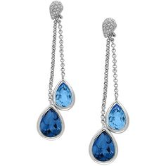 Effy Diamonds, London  Topaz and 14K White Gold Drop Earrings ($780) ❤ liked on Polyvore featuring jewelry, earrings, blue, blue topaz earrings, teardrop diamond earrings, 14k earrings, diamond drop earrings and drop earrings
