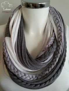 Handmade t-shirt infinity scarf. Made of high quality 2 shades of grey and white cotton fabrics. The scarf is very soft on the neck and will keep you warm. Can be worn long or folded. For cleaning, wash by hand or on a gentle program in a washing machine and dry naturaly.  Size: approx. 25.9 long Please feel free to contact me for any question.