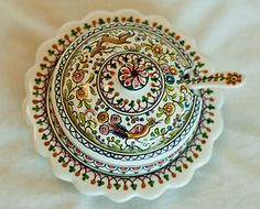 Hand-painted sugar bowl and spoon from Coimbra, Portugal. Get yours today to have your own piece of traditional Portuguese hand-painted pottery!