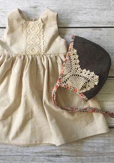 Handmade Linen & Lace Dress & Bonnet | ThePathLessRaveled on Etsy