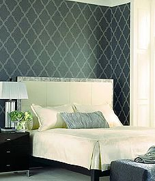 Lattice wallpaper Bring a hint of the outdoors indoors with this lattice-inspired paper. Mimicking the latticework of an outdoor trellis or gate, this pattern is the perfect way to add a bold statement to your bedroom.