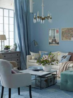 16 Best Living Room Curtain Ideas and Designs to Upgrade Your Interior – Home Decor İdeas Modern Modern Color Schemes, Modern Colors, Blue Curtains Living Room, Living Room Decor, Blue Rooms, Apartment Living, Home And Living, Small Living, Interior Inspiration