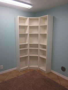 smart idea to arrange skinny bookshelves in a corner to maximize storage space-->for shoes in closet