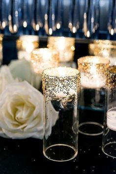 55 Elegant Navy And Gold Wedding Ideas Unique Wedding Ideas Wedding Decor Candle Light Ambiance DIY Weddings Wedding on A Budget Wedding Color Schemes Navy and Gold Weddings Diy Wedding Flower Centerpieces, Wedding Decorations On A Budget, Diy Wedding Flowers, Diy Flowers, Black And Gold Centerpieces, Glitter Centerpieces, Centerpiece Ideas, Table Decorations, Table Centerpieces