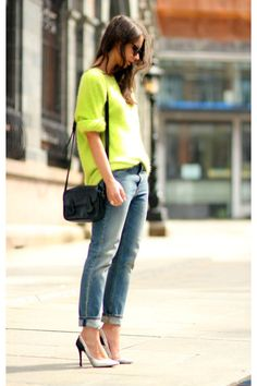 9e45ad154638c Teal-acne-jeans-chartreuse-acne-sweatshirt Neon Jeans