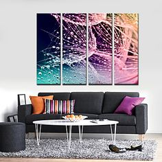 Stretched Canvas Print Art Abstract Nets and Waterdrops Set of 4 – USD $ 59.99