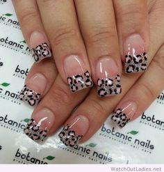 Super nails design french tip glitter animal prints Ideas Nail Tip Designs, French Nail Designs, Acrylic Nail Designs, Nails Design, Acrylic Nails, Funky Nails, Trendy Nails, Botanic Nails, Leopard Print Nails