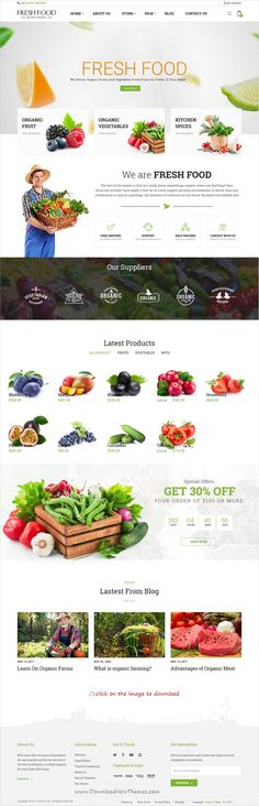 Fresh Food is clean and modern design 4in1 responsive #ZenCart template for organic #food, fruit and vegetables shop #eCommerce website to download click on image.