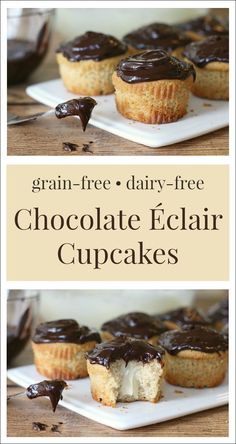 Decadent chocolate ganache tops a moist vanilla cupcake with a sweet-n-creamy surprise center for the ultimate grain-free treat … Chocolate Éclair Cupcakes! As a gluten-free girl living in a … Gluten Free Baking, Gluten Free Desserts, Gluten Free Recipes, Healthy Desserts, Gluten Free Cupcakes, Cupcake Recipes, Cupcake Cakes, Dessert Recipes, Gourmet Cupcakes