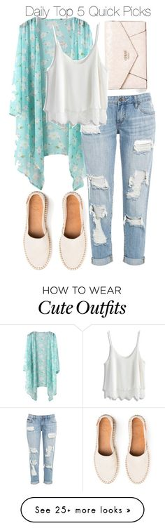 """Daily Top 5 Quick picks/cute summery outfit"" by beautyandstylefox on Polyvore featuring GUESS, Chicwish, summerstyle and kimonos. Check out that cool T-Shirt here: https://www.sunfrog.com/together-forever-Black-Guys.html?53507"