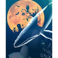 【manatee0211】さんのInstagramをピンしています。 《Abyssrium、ハロウィンイベントで幽霊クジラが来てくれました(*^^*) 月もハロウィン🎃仕様でなかなかキュート!  #abyssrium #アビスリウム #深海 #アクアリウム #クジラ #オバケ #ghost #halloween #ハロウィン #癒やし》