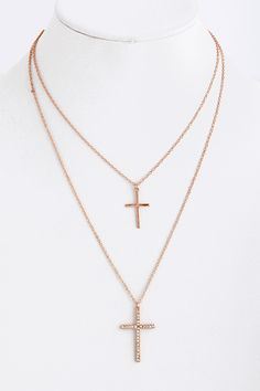 Rose gold cross necklace $20