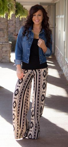A black and white printed palazzo pants would add some visual interest to my wardrobe.:
