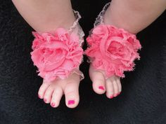 Pink Barefoot Baby Sandals - Infant Sandals - Shabby Chic Flower Baby Sandals - Bottomless Sandals - Baby Girl Sandals - Newborn Sandal on Etsy, $10.00