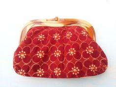 Adorable rust vintage velvet flower clutch by PoolsofLaughter, $22.00