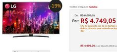 "Smart TV LED 60"" Super Ultra HD 4K LG 60UH7650 WebOS Wi-Fi HDR Local Dimming Controle Smart Magic << R$ 499900 em 10 vezes >>"