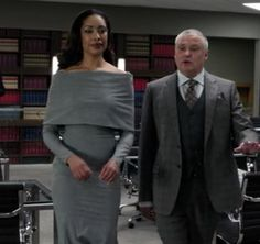 Jessica Pearson (Gina Torres)  Grey flannel cowl dress Suits TV