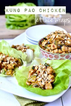 Gluten-free Kung Pao Chicken Lettuce Wraps taste like they came straight out of a restaurant! | iowagirleats.com