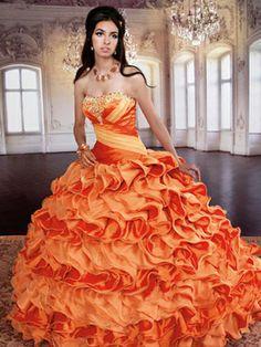 Orange Quince Dress With Multi-Colored Bodice