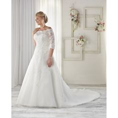 $369 Chapel Train Plus Size Ivory Off-the-shoulder Aline 1/2 Sleeves Tulle Appliques Wedding Dress