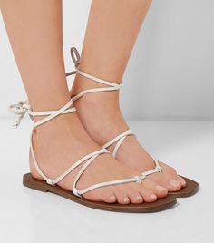 Tomas Maier Leather Sandals // white gladiator sandals
