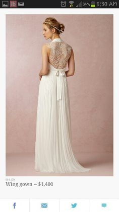 BHLDN, Anthropologie's bridal line, has been a consistent favorite among bohemian and vintage-loving brides. Fall 2014 collection -- available online August 5, 2014--Love the angel wings design on the back!