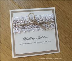 Rustic Wedding Invitation with Hessian, Burlap, Lace and Twine. Luxury, Country Wedding Stationery by Bubbly Creations