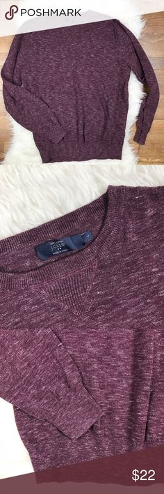 "J. Crew Heathered Sweatshirt Sweater Excellent condition Men's J. Crew Factory Heathered Sweatshirt Sweater. Size Large. Two tone yarns. 100% cotton. Deep eggplant purple. Chest 48"", length 25.5"", sleeve length 24.5"". No trades, offers welcome. J. Crew Factory Sweaters Crewneck"