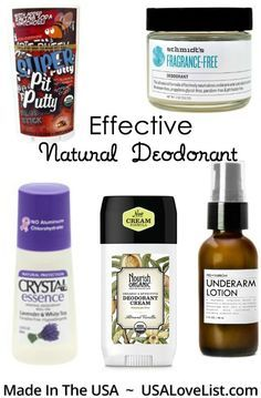 Effective, natural non toxic deodorant options that really work via USALovelist.com #madeinUSA #AmericanMade