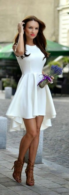 White Up Down Mini Dress with Heels Spring ...