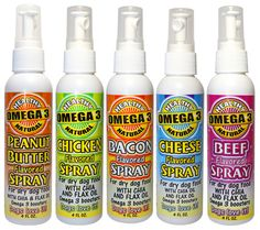 Flavored Omega 3 Sprays for dry dog food. Adds 150 mg of Omega 3 daily. Great for picky eaters. Chia Seed Oil, Edible Oil, Dry Dog Food, Omega 3, Picky Eaters, Sprays, Vitamin E, Healthy Skin, Dog Food Recipes