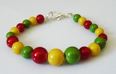 Colorful rasta beaded bracelet by EmilyArtHandmade on Etsy