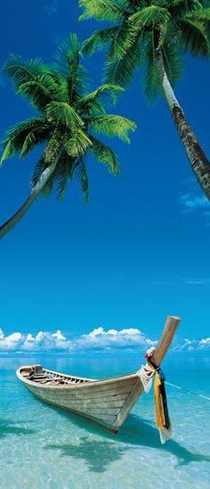 Fotomural Puerta Wizard Genius Eternal Quest 503, imagen de playa paradisíaca con agua cristalina y pequeña embarcación sujetada entre dos palmeras. El color predominante es el azul en sus distintas tonalidades.