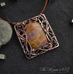 Wire wrapped pendant copper Jasper Wire wrap jewelry Wire