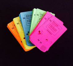 GAMEBOY shaped BUSINESS CARDS custom cut and printed by moxierings, $29.75
