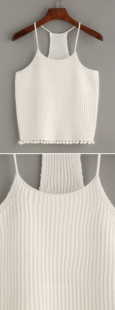 White Spaghetti Strap Cami Top from shein. Super soft tank top, cute white spaghetti strap top, white knit crop top. Must-have with anything!
