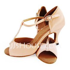 Dance Shoes - $28.99 - Satin Heels Latin Ballroom Dance Shoes With T-Strap (053012958) http://jjshouse.com/Satin-Heels-Latin-Ballroom-Dance-Shoes-With-T-Strap-053012958-g12958 3inches