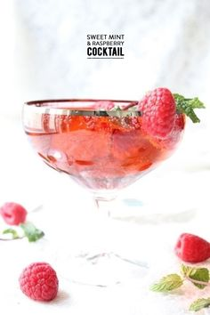 Sweet Mint Raspberry Cocktail Read more - http://www.stylemepretty.com/living/2014/02/20/sweet-mint-raspberry-cocktail/