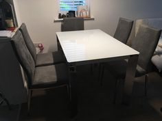 Link white glass top with chrome legs paire with comfortable Livorno dining chairs in microfibre. Delivered to our client in Surrey. Leather Bed, Extendable Dining Table, Surrey, Sofa Design, Modern Bedroom, Contemporary Furniture, Sideboard, Dining Chairs, Chrome