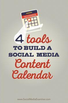 nice 4 Tools to Build a Social Media Content Calendar : Social Media Examiner Social media Social Media Marketing