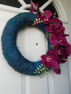 Yarn Wreath Peacock Blue and Purple with Orchids by RedRobynLane, $55.00