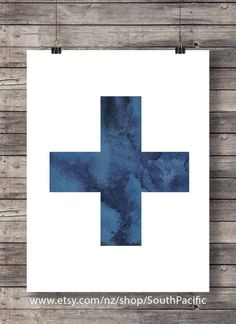 Printable art   Swiss Cross   watercolor ink hand painted   Scandi graphic print   printable wall art   Scandi decor   modern printable 16x20 print, also fine to print at 8x10 or smaller  MADE WITH LOVE ♥  ____________________________  Print as many times as you like, fine for personal